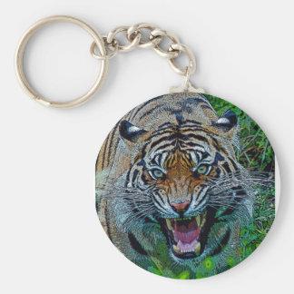Aquí le está mirando tigre llavero redondo tipo pin