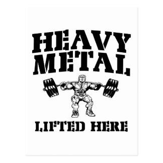 Aquí levantamiento de pesas levantado metal pesado postal