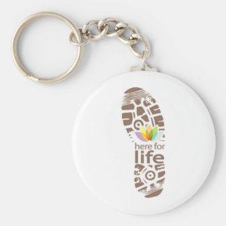 Aquí para la insignia del zapato de la vida llaveros personalizados