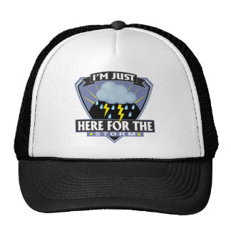 Aquí para la tormenta gorras de camionero