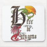 Aquí sea dragones Mousepad Tapetes De Ratones