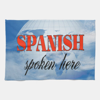 Aquí tierra nublada hablada español toallas de cocina