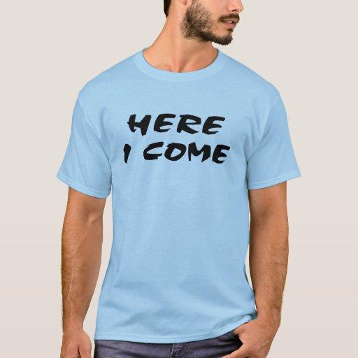 Aquí vengo allí yo voy camiseta del motocrós de la