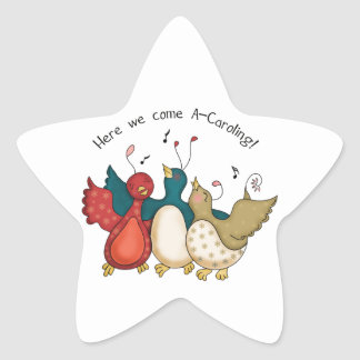 Aquí venimos los pájaros del navidad de A-Caroling Pegatina En Forma De Estrella