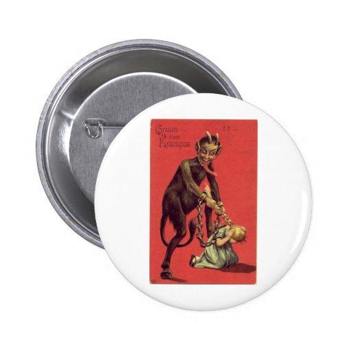 ¡Aquí viene el Krampus! 2 Pin Redondo 5 Cm