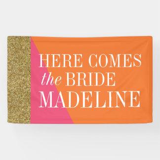 Aquí viene la bandera de la novia, ducha nupcial lona