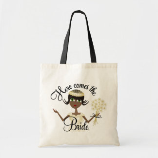 Aquí viene la novia bolsas lienzo