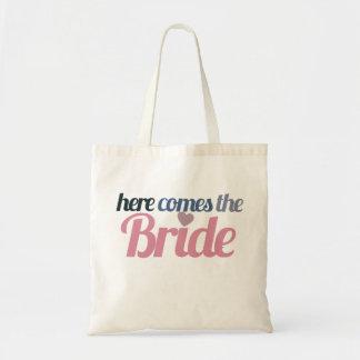 Aquí viene la novia bolsa tela barata