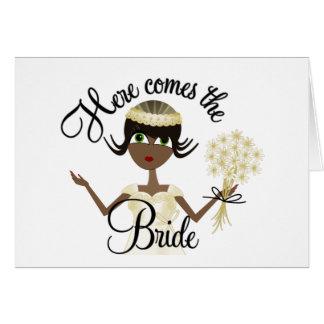 Aquí viene la novia tarjetón