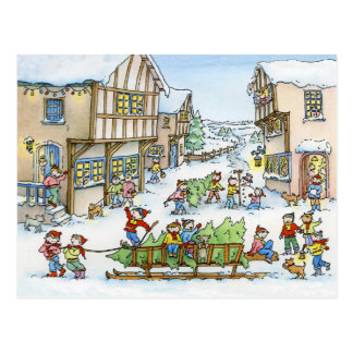 Aquí viene la postal del árbol de navidad
