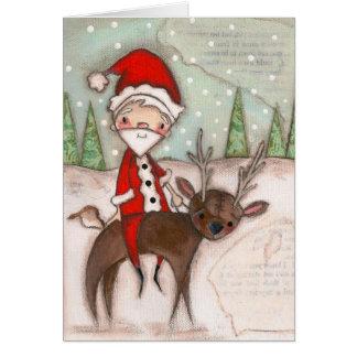 Aquí viene Papá Noel - tarjeta del día de fiesta
