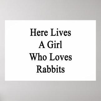 Aquí vive un chica que ama conejos impresiones