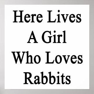 Aquí vive un chica que ama conejos posters