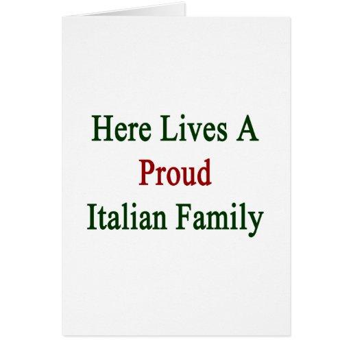 Aquí vive una familia italiana orgullosa tarjetas