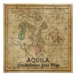 Aquila Eagle Constellation Star Map Antinous Poster