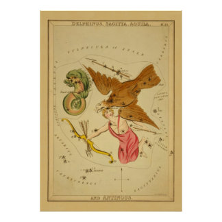 Aquila the Eagle - Vintage Astronomical Star Chart Posters