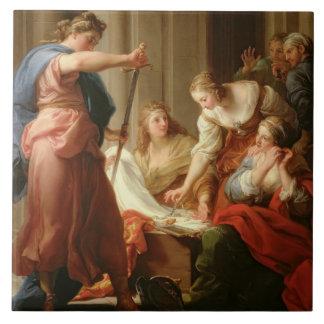 Aquiles en la corte de rey Lycomedes con su D Azulejo Cuadrado Grande