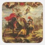 Aquiles que derrota a Hector, 1630-32 Pegatina Cuadrada