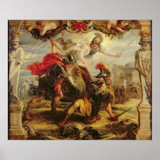 Aquiles que derrota a Hector, 1630-32 Póster