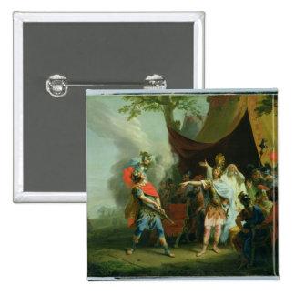 Aquiles tiene un conflicto con Agamemnon, 1776 Pin Cuadrado