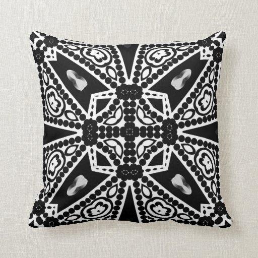 Aquina : Black & White Modern Tribal Cushion
