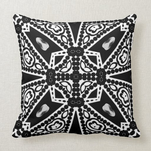 Aquina : Black & White Modern Tribal Cushion Throw Pillows Zazzle