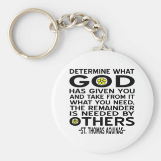 Aquinas Quote - Determine WHat GOd Has Given You Keychain