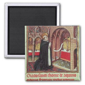 Aquinas'Libro de Horas de Alfonso el 2 Inch Square Magnet