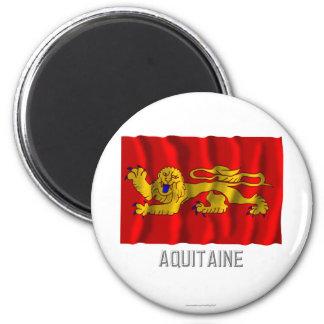 Aquitaine waving flag with name fridge magnets