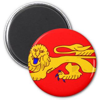 Aquitania, bandera de Francia Imán Redondo 5 Cm