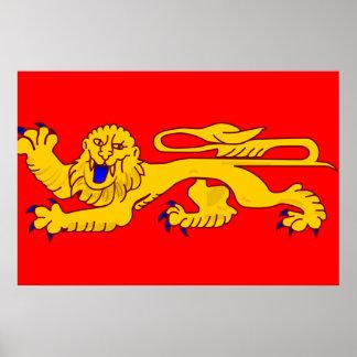 Aquitania, bandera de Francia Poster