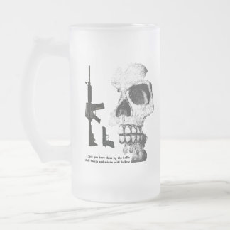 AR15 92FS with Skull Frosted Glass Beer Mug