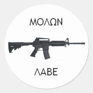 AR15 Molon Labe stcker Classic Round Sticker