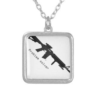 AR-15 (AOM Design) Silver Plated Necklace
