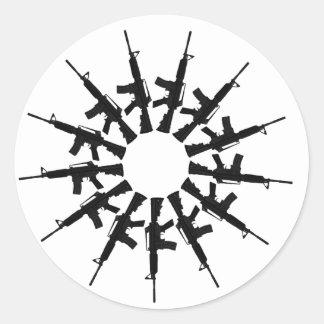 AR-15 Gun Weapon Kaleidoscope  Design Classic Round Sticker