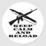 AR-15 M-16 Keep Calm And Reload Classic Round Sticker