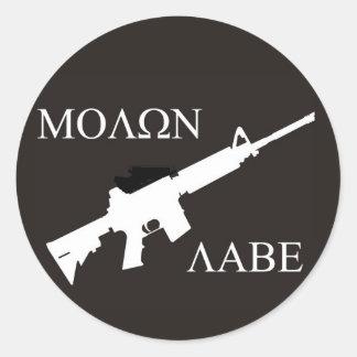 AR-15 Molon Labe Classic Round Sticker