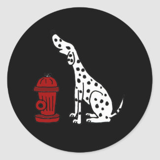 AR- Awesome Dalmatian Dog and Fire Hydrant Classic Round Sticker