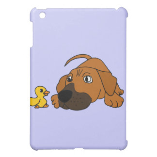 AR- Brown Puppy Dog with Rubber Duck Cartoon iPad Mini Cases