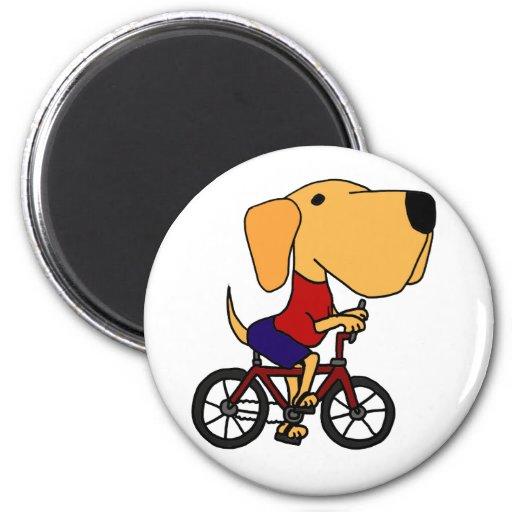 AR dibujo animado amarillo de la bicicleta del mon Imán De Frigorifico