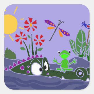 AR- Funny Frog Sitting on a Gator Cartoon Square Sticker