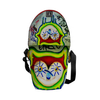 ARA ARTIST-LITTLE GEMS-CAT WITH THE BICYCLE EYES MESSENGER BAG
