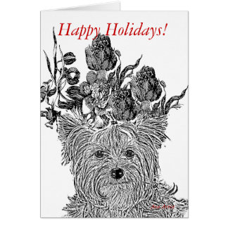 ARA HOLIDAY CARD YORKIE WITH FLOWERS BLACK AND WH
