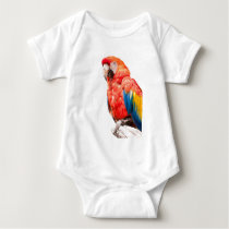 ara macaw parrot on its perch baby bodysuit