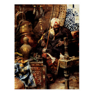 Arab Dealer Among His Antiques Postcard