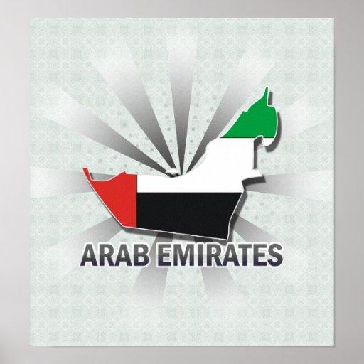 Arab Emirates Flag Map 2.0 Posters