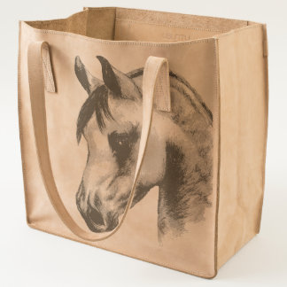 Arab horse leather tote bag