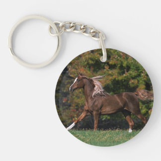 Arab Horse Running in Grassy Field Keychain