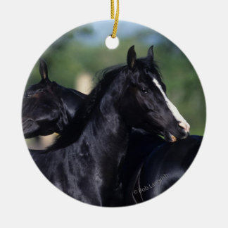 Arab Horse Scratching Double-Sided Ceramic Round Christmas Ornament