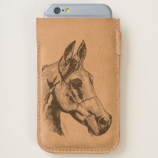 Arab horse sketch iPhone 7/6/6s leather pouch